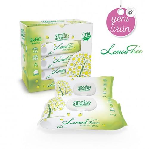 Giggles Limon Ağacı Kokulu 3x60'li 180 Adet Islak Havlu Lemon Tree
