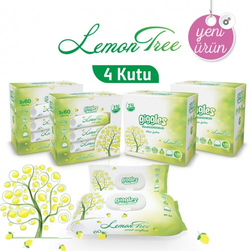 Giggles Limon Ağacı Kokulu 4x3x60'li 720 Adet Islak Havlu Lemon Tree