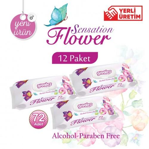 Giggles Flower sensation Islak Havlu 12x72'li Adet