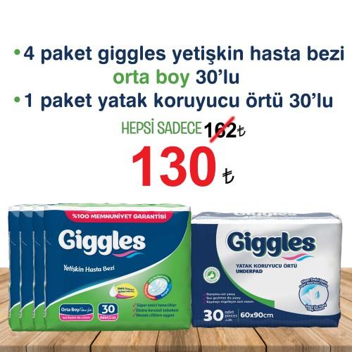 Giggles Yetişkin Tekstil Yüzlü Bağlamalı Hasta Bezi Orta 4 paket , yatak koruyucu örtü 1 paket