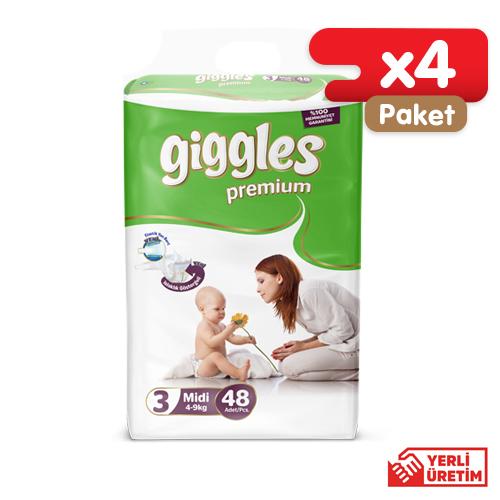Giggles Premium Bebek Bezi 3 Numara Midi Eko 48'li (4 Paket)