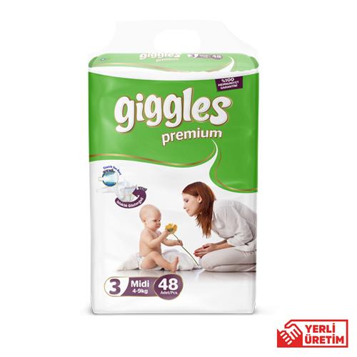 Giggles Premium Bebek Bezi 3 Numara Midi  48'li Eko