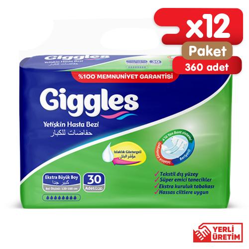Giggles Yetişkin Tekstil Yüzlü Bağlamalı Hasta Bezi Extra Large 12x30'lu