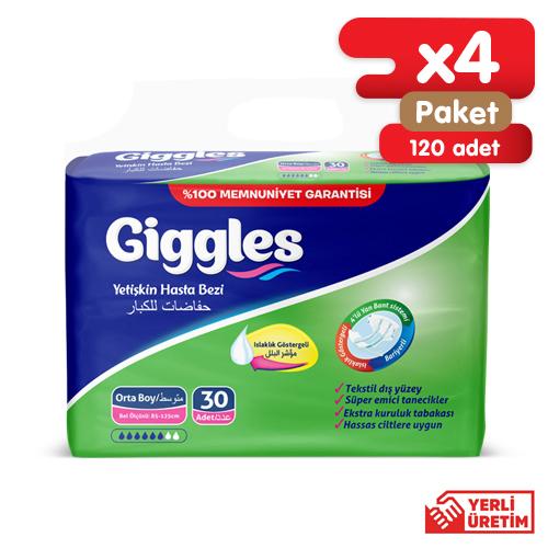 Giggles Yetişkin Tekstil Yüzlü Bağlamalı Hasta Bezi Medium 4x30'lu