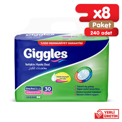 Giggles Yetişkin Tekstil Yüzlü Bağlamalı Hasta Bezi Medium 8x30'lu