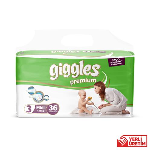 Giggles Premium Bebek Bezi 3 Numara Midi 36'lı İkiz