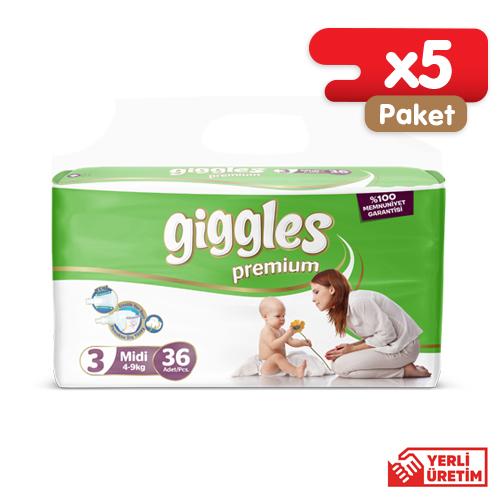 Giggles Premium Bebek Bezi 6 Numara Midi 36li İkiz (5 Paket)